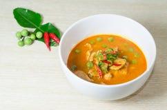 Cari rouge sec de noix de coco de porc (Panaeng) Photographie stock libre de droits