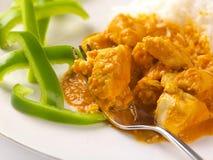 Cari thaï de poulet d'arachide avec les poivrons verts coupés en tranches Photographie stock libre de droits
