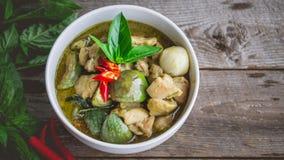 Cari thaï de vert de poulet Nourriture thaïlandaise célèbre de tradition Image pour Photos libres de droits