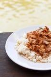 Cari thaïlandais de panang avec du riz cuit à la vapeur Images libres de droits