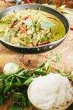 Cari vert de porc, cuisine thaïe Image stock