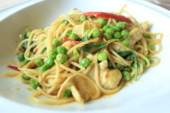 Cari vert de spaghetti Photos stock
