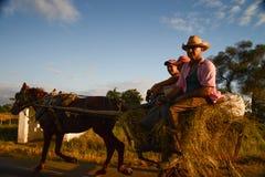 Cariage cubano del cavallo dell'azionamento Fotografia Stock Libera da Diritti