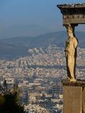 Cariatide dal tempio di Erechteum, acropoli, Atene, Grecia Fotografia Stock Libera da Diritti
