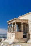 Cariatides au porche de l'Erechtheion, Acropole images stock