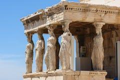 Cariatides au porche de l'Erechtheion, Acropole photos stock