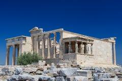 Cariatides au porche de l'Erechtheion, Acropole image stock