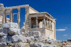 Cariatides au porche de l'Erechtheion, Acropole photos libres de droits