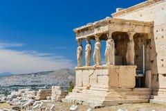 Cariatides au porche de l'Erechtheion, Acropole image libre de droits