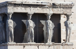 Cariatides sur Erechtheion d'Erechtheum à Athènes images stock
