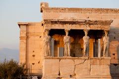 Cariatidi, acropoli del tempio di erechtheion, Atene Grecia Fotografia Stock