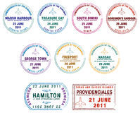 Caribbean. Passport stamps of the Lucayan Islands (Bermuda, the Bahamas and Turks & Caicos) in  format Royalty Free Stock Images