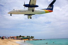 Caribbean Airling LIOT jet landing Stock Photos