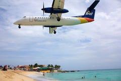 Caribbean Airling LIOT jet landing Stock Photos