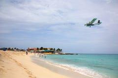 Caribbean Airling LIOT jet landing Royalty Free Stock Photo