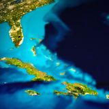 Caribbean and Bahamas islands map. Elements of this image furnished by NASA. 3d rendering royalty free illustration