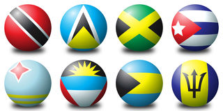 Caribbean balls. 3D spherical flags representing caribbean countries Royalty Free Stock Photography