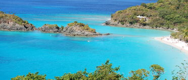 Caribbean Bay with Bathers Stock Photos