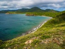 Caribbean Bay, Virgin Islands, St. John, Clear Water. A clear water bay on St. John in the U.S. Virgin Islands.  View of resort in distance.  Within Virgin Stock Photos