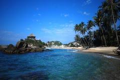 Caribbean beach. Tayrona national park in the Caribbean beach of Colombia Stock Photos