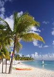 Caribbean Beach. Beautiful caribbean beach with a colorful jolly boats and kayaks Stock Images
