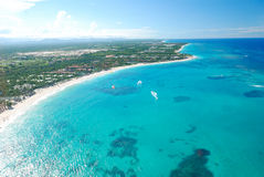 Caribbean beach aerial view. Beautiful caribbean beach in Dominican Republic aerial view Stock Images
