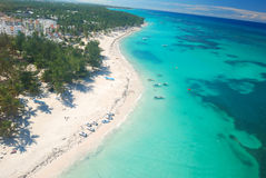 Caribbean beach aerial view Stock Images