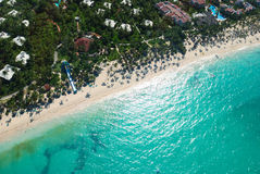 Caribbean beach aerial view. Beautiful caribbean beach in Dominican Republic aerial view Royalty Free Stock Photography