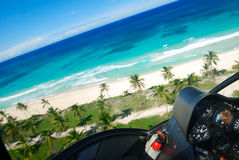 Caribbean beach aerial view. Beautiful caribbean beach in Dominican Republic aerial view from helicopter Stock Image