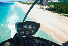 Caribbean beach aerial view. Beautiful caribbean beach in Dominican Republic aerial view from helicopter Royalty Free Stock Image