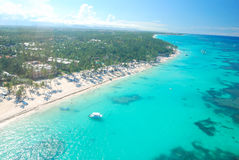Caribbean beach aerial view Royalty Free Stock Photo