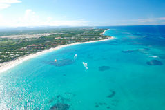 Caribbean beach aerial view Stock Photo