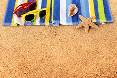 Caribbean beach background, top edge border, sunglasses, copy space Stock Images