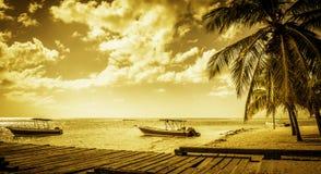 Caribbean beach. Beautiful golden caribbean beach, motor boats and wooden jetty Stock Photos