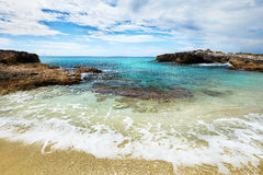 Caribbean beach and blue tropical sea in Mexico Stock Photography