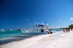 Caribbean beach with boat Stock Photos
