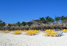 Caribbean beach in Cancun Mexico Stock Photos