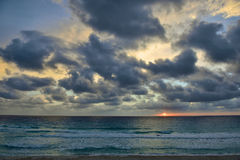 Caribbean beach at Cancun, very early in the morning Stock Photos