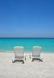 Caribbean beach chairs Stock Photo