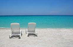 Caribbean beach chairs royalty free stock image