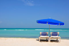 Caribbean Beach Chairs, Mexico Stock Photo