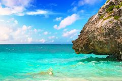 Caribbean beach at the cliff in Tulum. Mexico Stock Photo
