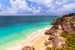 Caribbean beach at the cliff in Tulum, Royalty Free Stock Images