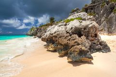 Caribbean beach at the cliff in Tulum. Mexico Royalty Free Stock Photography