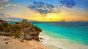 Caribbean beach at the cliff in Tulum. At sunset, Mexico Stock Photography