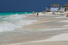 Caribbean Beach. Cuba. Slight waves at Caribbean Sea and the beach of Cayo Largo del Sur Island Stock Image