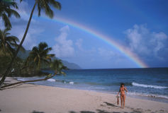 Caribbean Beach Girl Rainbow Stock Images