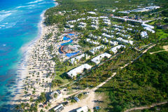 Caribbean beach from helicopter view.  Royalty Free Stock Images