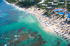 Caribbean beach from helicopter view. Resort Royalty Free Stock Photography