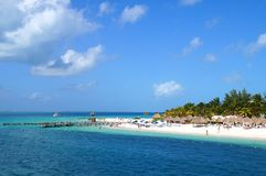 Caribbean beach. Isla Mujeres, view from water Royalty Free Stock Images